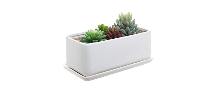 10 inch Rectangular Modern Minimalist White Ceramic Succulent Planter Pot