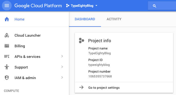Google Cloud Dashboard - TypeEighty