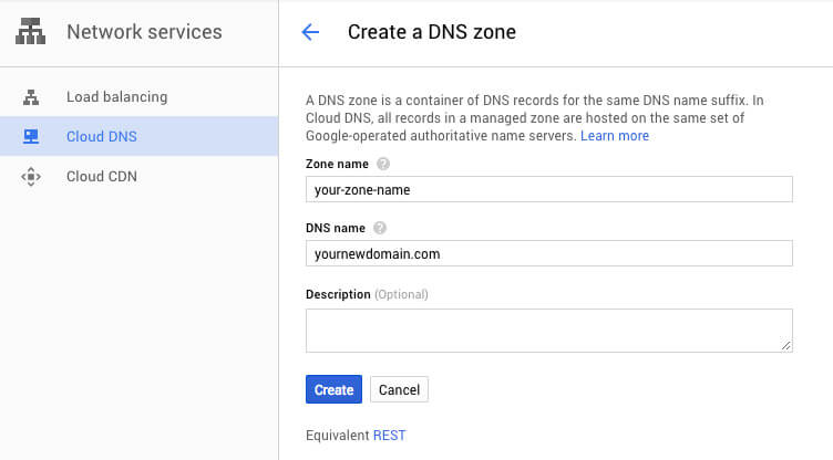 Google Cloud DNS new zone - TypeEighty