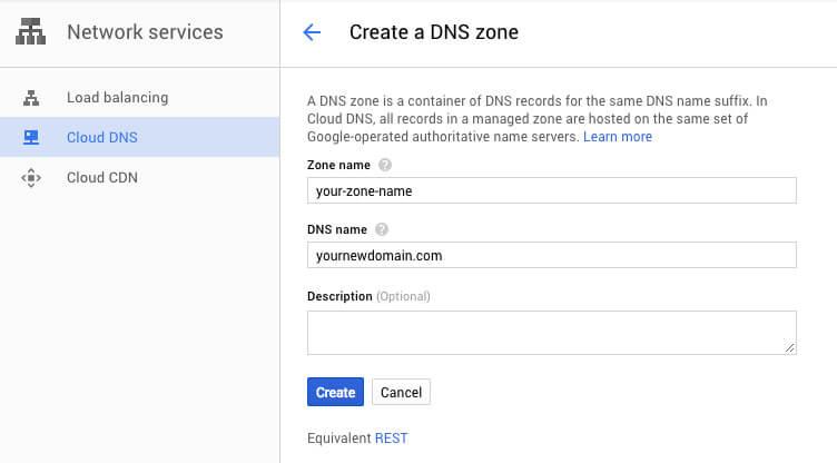 Google Cloud DNS new zone - TypeEighty