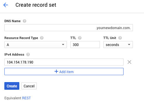 Google Cloud DNS record set - TypeEighty