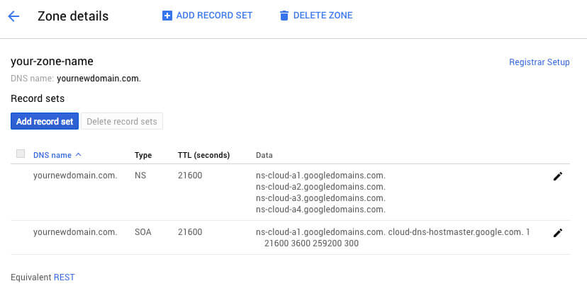 Google Cloud DNS Zone Details - TypeEighty