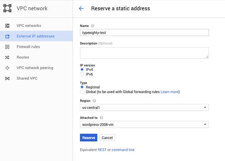 Google Cloud IP address config - TypeEighty