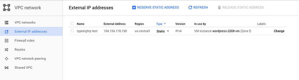 Google Cloud External IP addresses - TypeEighty