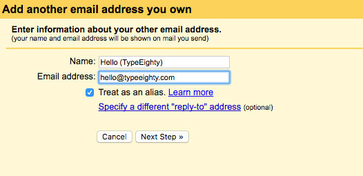 Gmail add email address - TypeEighty