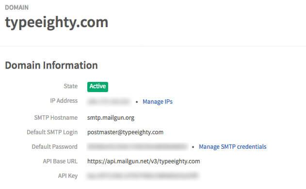 Mailgun Domain - TypeEighty