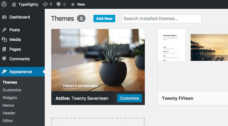 WordPress Theme Add New - TypeEighty