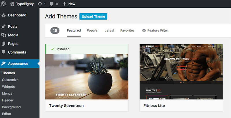 WordPress Upload Theme - TypeEighty