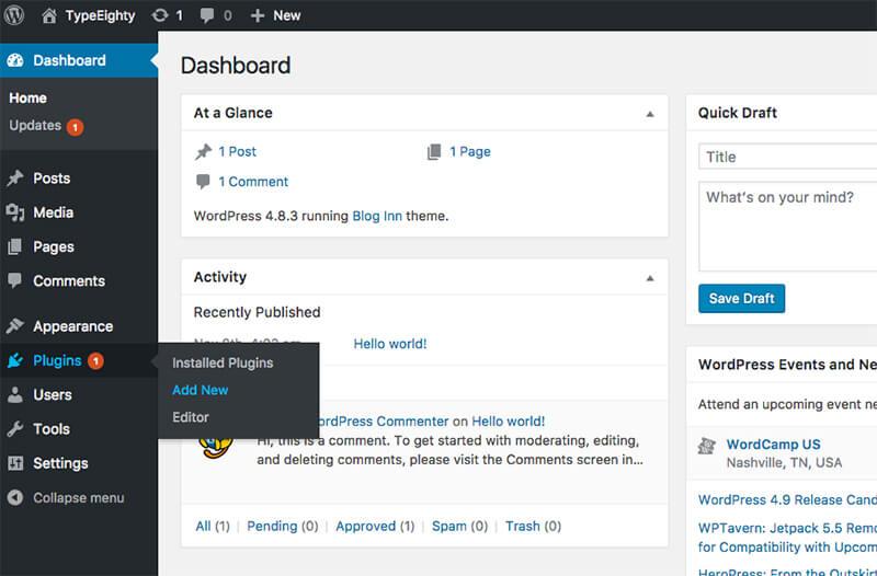 WordPress Plugin Add New - TypeEighty