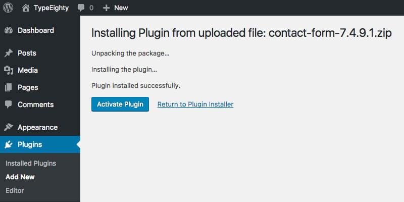 WordPress Plugin Activate - TypeEighty