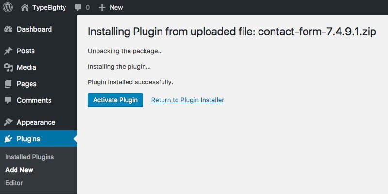 WordPress Plugin Activate - TypeEighty