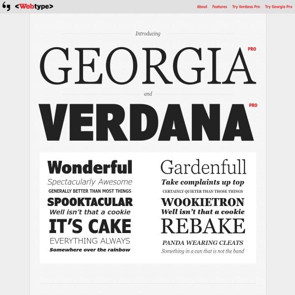 screenshot of Georgia Pro and Verdana Pro