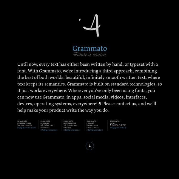 screenshot of Grammato — Future is written