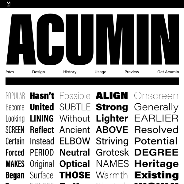 screenshot of Acumin