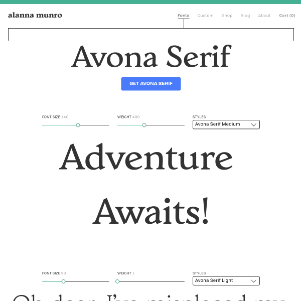 screenshot of Avona Serif