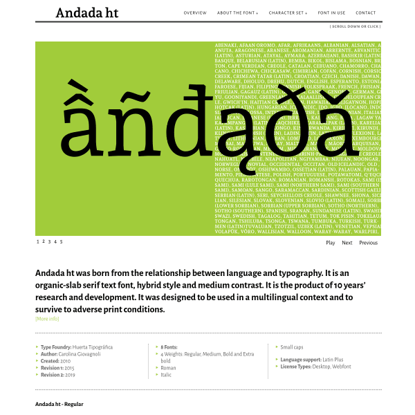screenshot of Andada