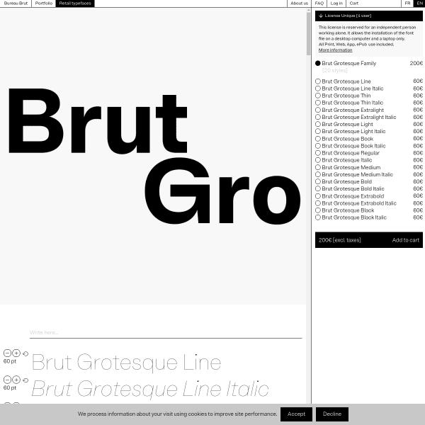 screenshot of Brut Grotesque – Bureau Brut