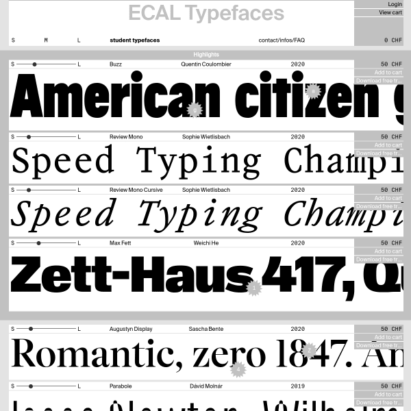 screenshot of ECAL Typefaces