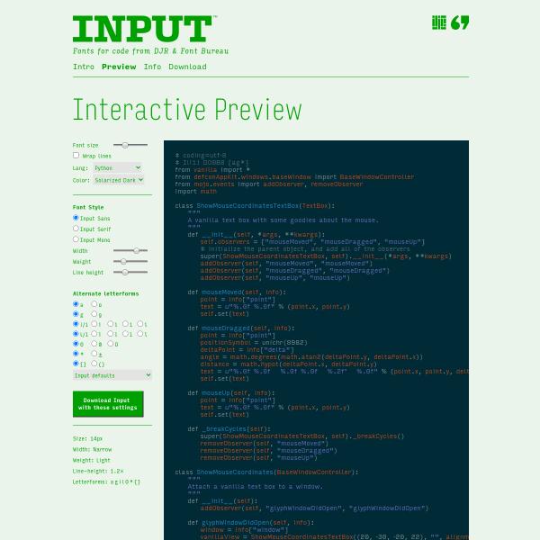 screenshot of Input: Fonts for Code