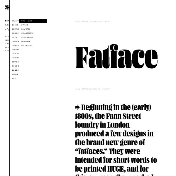 screenshot of Ohno Fatface ☠️ OH no Type Company