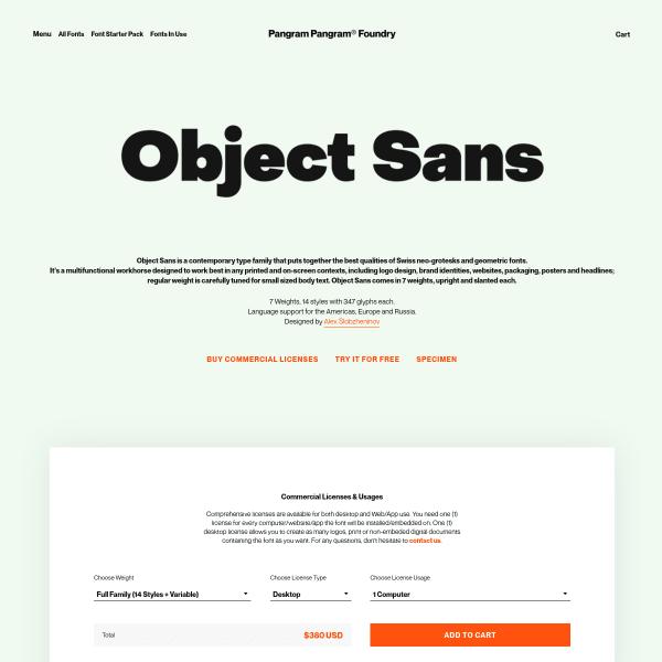 screenshot of Object Sans