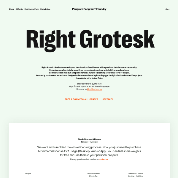 screenshot of Right Grotesk