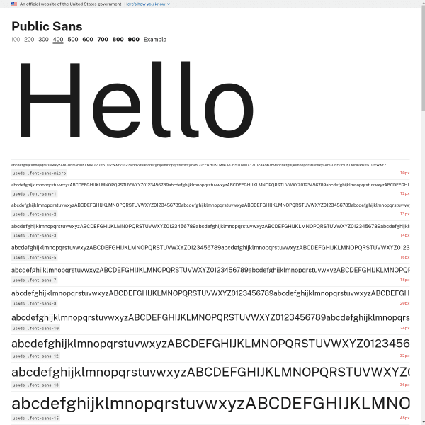 screenshot of Public Sans 400