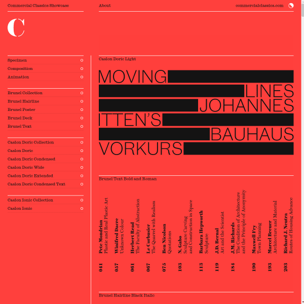 screenshot of Three cornerstone typefaces