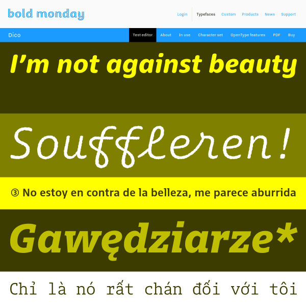 screenshot of Bold Monday - independent font foundry of high quality type