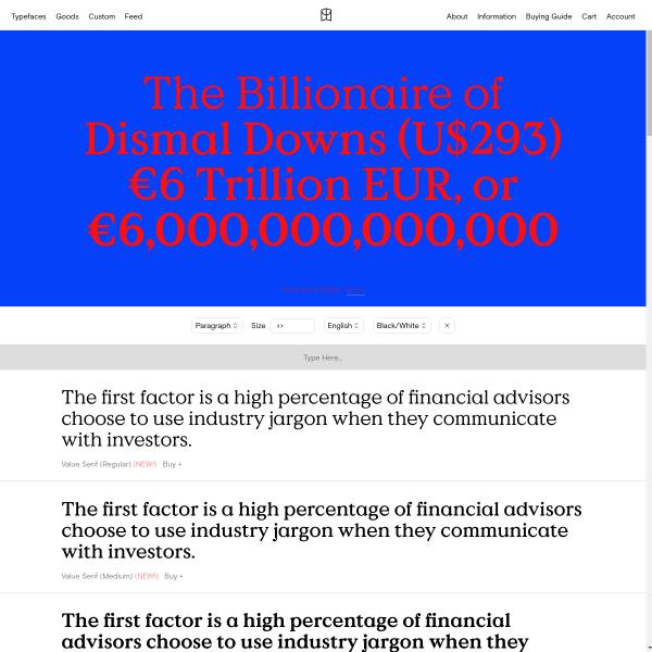 screenshot of Value Serif