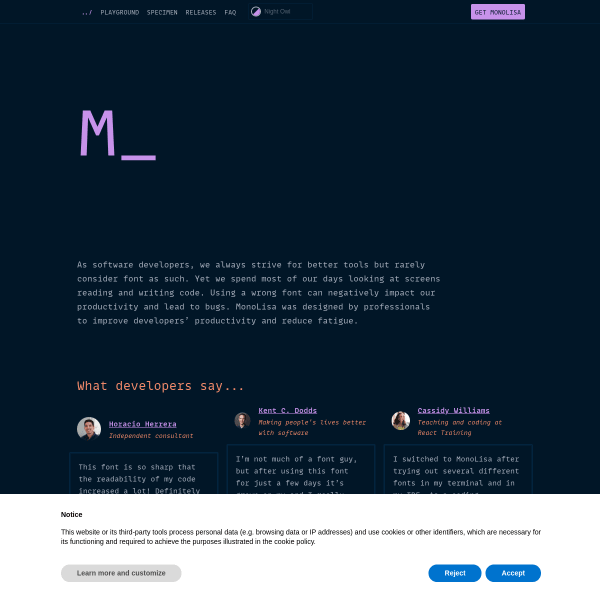 screenshot of MonoLisa - A font family designed for software developers