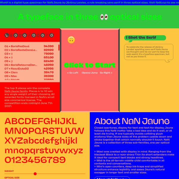 screenshot of NaN Jaune — See the fonts 👀 Play the game 🎮