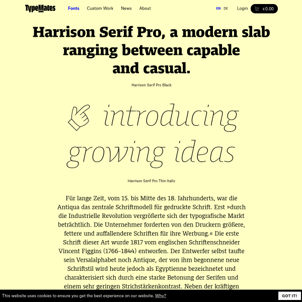 screenshot of Harrison® Serif Pro