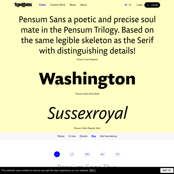 screenshot of Pensum Sans