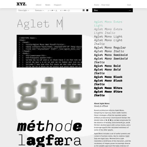 screenshot of Aglet Mono