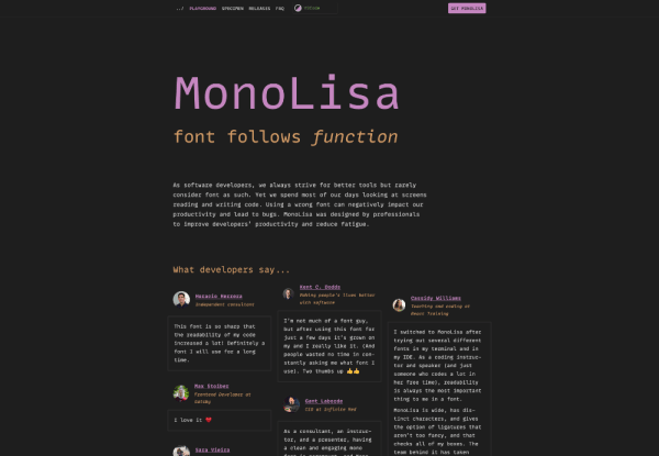 MonaLisa typeface specimen homepage
