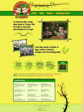 Amazing Drumming Monkeys website screenshot
