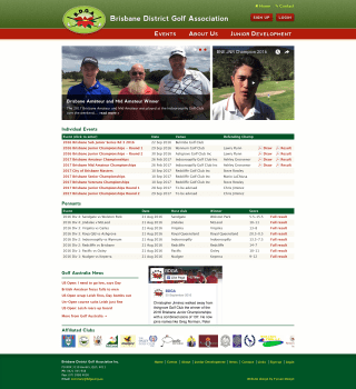 Brisbane District Golf Association website screenshot