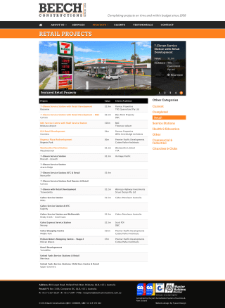 Beech Constructions website screenshot
