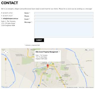 Elite Invest Property Management website screenshot