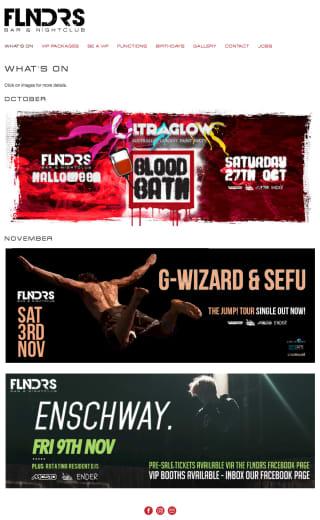 FLNDRS Bar & Nightclub website screenshot
