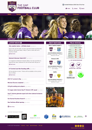 The Gap Football Club website screenshot