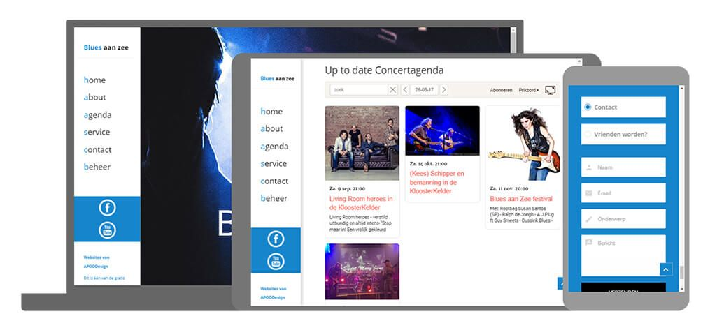 Blues aan Zee U-Page One website