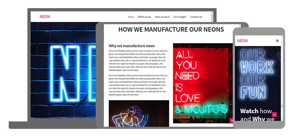 Neon een U-Page One website
