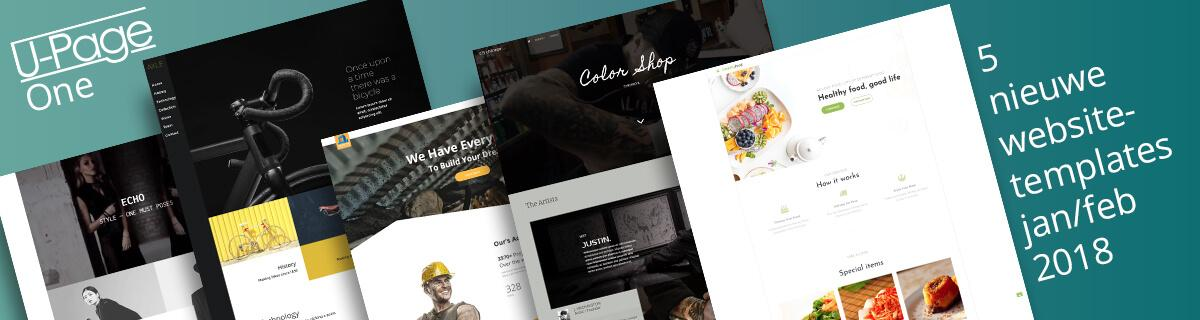 U-Page One website templates  jan/feb 2018
