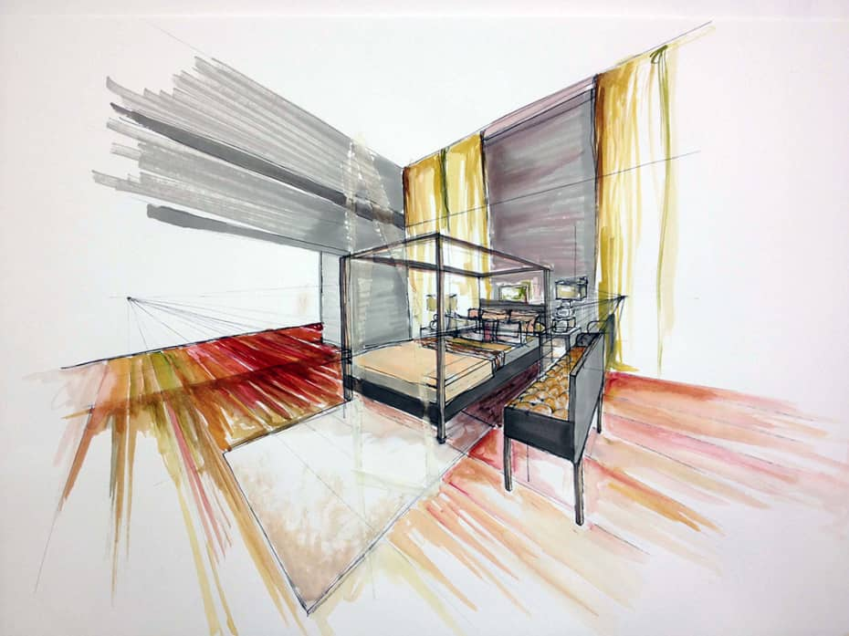 Interior Design Line Art : Perspective drawing lessons interior designers