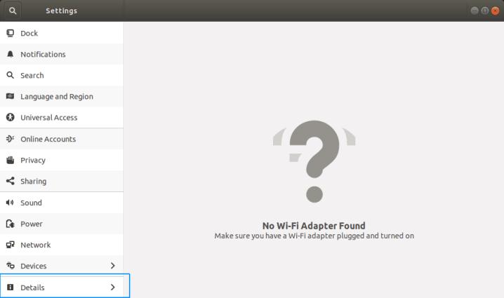 Hostname - Ubuntu Settings Detail Menu