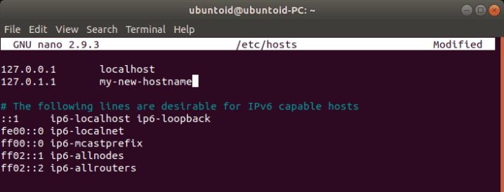 Hostname - Host File Nano