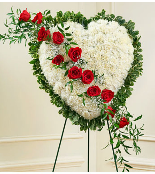 WHITE AND RED HEART