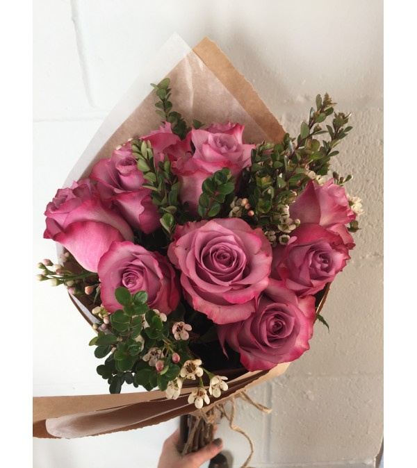 12 Pink Roses Wrapped